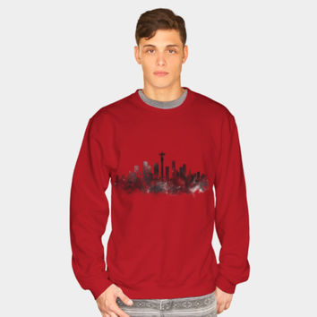 Seattle Black And White Crewneck By Monn Design By Humans