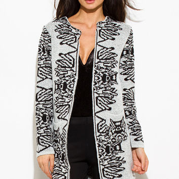 WOMENS LIGHT HEATHER GRAY BLACK ABSTRACT PRINT ACRYLIC OPEN FRONT POCKETED SWEATER KNIT LONG CARDIGAN