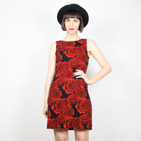 Vintage 90s Dress Grunge Dress 1990s Dress Red Roses Rose Floral Print Club Kid Dress Mini Dress Valentines Day Dress Rave Mod M Medium L