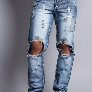 Distressed Knee Hole Slim Ripped Jeans DL122 - H1F