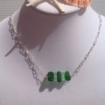 Sea glass necklace coke bottle & green sea glass jewelry -wire wrapped silver recycled minimalist boho beaded necklace-beach glass jewelry