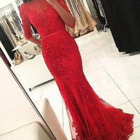 Long Sleeve Mermaid Red Beaded Prom Dresses