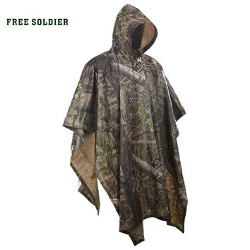 FREE SOLDIER Outdoor sports 3 in 1 tactical military bionic raincoat rain cover tent mat awning camping hiking Camouflage poncho