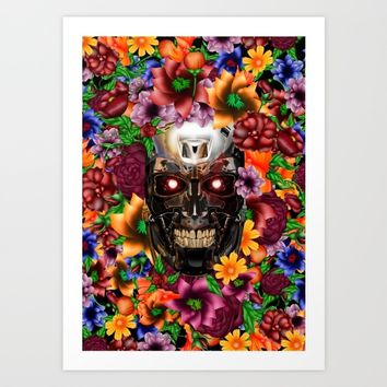 Sugar Chrome skull terminator face iPhone 4 4s 5 5s 5c, ipod, ipad, pillow case and tshirt Art Print by Three Second