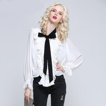 Asara Bow Ruffled Blouse