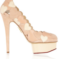 Charlotte Olympia - Love Me heart-appliquéd leather and suede pumps