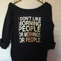 I Don't Like Morning People  - Ruffles with Love - Off the Shoulder Sweatshirt - Womens Clothing - RWL
