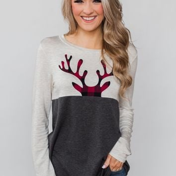 Call In The Reindeer Top- Oatmeal & Charcoal