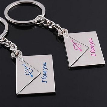 """Bluelans 2 x Lover's Keyring Envelope """"I love you"""" Engraved Cupid's Arrow Heart Keychains Key Chains"""
