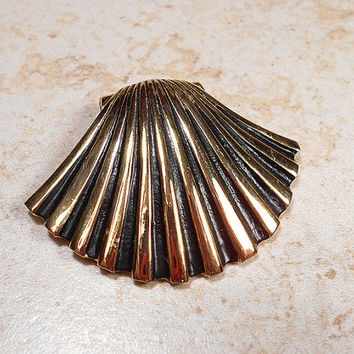 Large Black and Gold Plated Seashell Slide Pendant Finding Metal Jewelry Making Supply Shell Nautical Beach Ocean