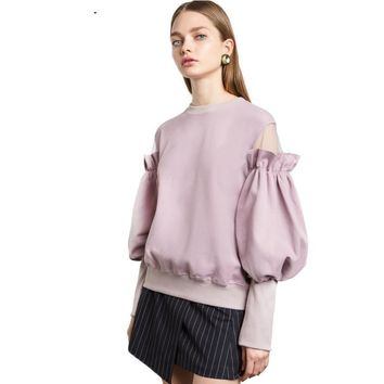 Fashion Women Cute Sleeve Sweatshirt Casual O-Neck Solid Tops Brief Butterfly Off Shoulder Pullovers