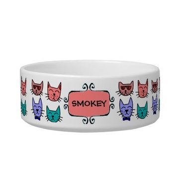 Cool Cats - Brown, Blue, Pumpkin, Teal Pet Water Bowls