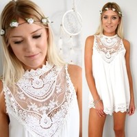 WHITE MESH FLORAL LACE CROCHETED SCALLOPED HEM PLAYSUIT JUMPSUIT 6 8 10 12