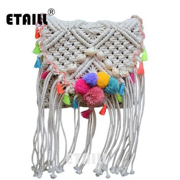 Ethnic Hippie Hobo Corss Body Bohemian Beach Bag Straw Women Crochet Fringed Pompon Tassel Luxury Brand With Logo Shoulder Bag
