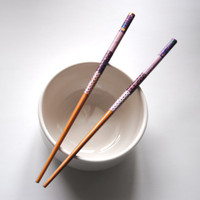 Pair of Washi Tape Wrapped Bamboo Chopsticks - Purples, Natural, Patchwork