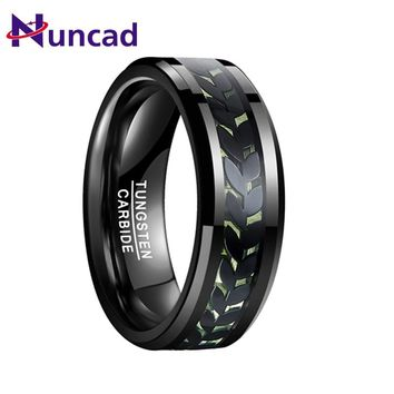 NUNCAD High Grade Men's Electroplated Black Leaf Green Carbon Fiber Tungsten Carbide Ring Best Gift Wedding bands Ring for Male