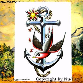 Nu-TATY Swallow Anchor Temporary Tattoo Body Art Flash Tattoo Stickers 21*15cm Waterproof Tatoo Car Styling Home Decor Sticker