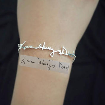 Signature Bracelet- Handwriting/Keepsake Bracelet/Bridesmaid Gift/Mother's Day Gift