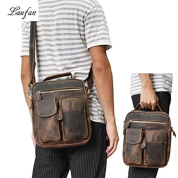 Men's Crazy horse leather shoulder bag Zip around cowhide casual tote Vintage crossbody bag iPad Real leather messenger bag
