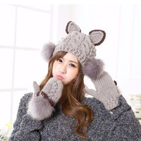 Cute cat ear hair bulb ball cap gloves