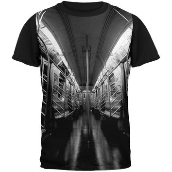 New York City Subway Black and White Pete Cohen Adult Black T-Shirt