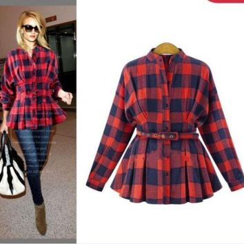ICIKIX3 Fall Fashion Long Sleeve Slim Shaped Checked Shirt [9068281924]