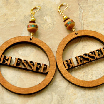 Blessed Earrings,Inspirational Jewelry, Statement Earrings, Wooden Hoops, Afro Jewelry, Wooden Jewelry