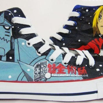 Anime Fullmetal Alchemist Hand Painted Shoes Paint On Custom Converse Shoes with Fullmetal Alchemist