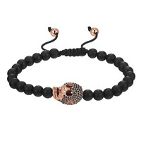Iced Out Skull head Bracelet Matte Black Bead Ball Design Link 14k Rose Gold Finish