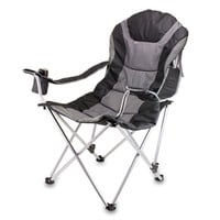 Picnic Time 803-00-175 Black and Gray Reclining Camp Chair