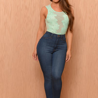 Fused with Flowers Bodysuit - Mint