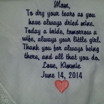 LACY Mother of the Bride Personalized Embroidered Wedding Handkerchief with FREE Sparkling Gift Envelope.