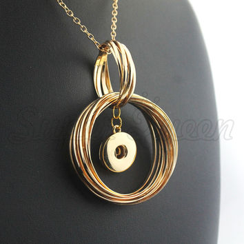 2016 exaggerated Gold Christmas 18mm metal ginger snap button necklace female DIY jewelry NE484 women's statement gift 8 cm