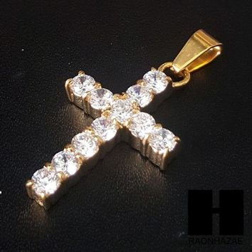 ESBONRC Iced Out 316L Stainless steel Gold 2Pac Cross Pendant Miami Cuban SS037