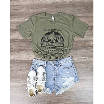 Distracted - Social Distancing Champion Funny Graphic Tee in Green