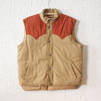 Vintage Down Puffy Vest by St. Moritz sz L - Brown and Brick Red - Cowboy / Rancher Style - 70s Retro