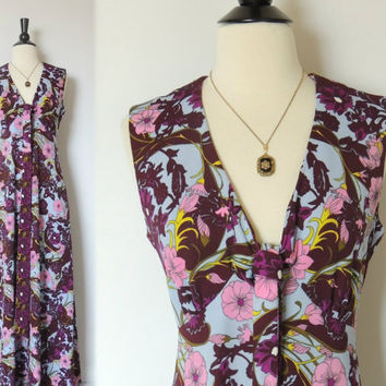Vintage 60s Floral Maxi Dress with Empire Waist Tie by BoWinston