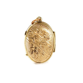 Antique GF Gold Locket Engraved Necklace Pendant Vintage 1870s Victorian Jewelry Sentimental Gift