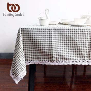 BeddingOutlet Plaid Tablecloth Cotton And Linen Dinner Table Cloth Macrame Decoration Lacy Table Cover Pastoral For Outdoor Home
