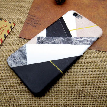 Geometric puzzle marble mobile phone case for iphone 5 5s SE 6 6s 6 plus 6s plus + Nice gift box 072601