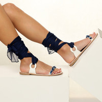 """Embellished sandals, Blue sandals, Bridal flat shoes,  """"Charis"""" NEW SS17 - Free standard shipping"""
