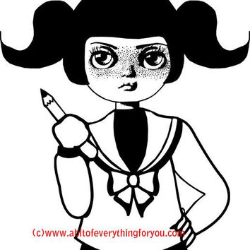 big eye school girl printable art print big eyes girl coloring page digital download large image graphics digital stamp black and white art