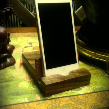 Walnut and Mahogany iPod, iPad, iPhone, Tablet, Smartphone stand.  Solid wood, free shipping to Lower 48 states