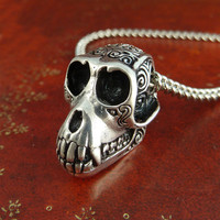 "Monkey Necklace Antique Silver Monkey Skull Pendant on 24"" Antique Silver Chain"