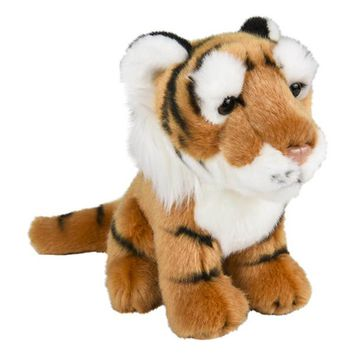 8 Inch Stuffed Tiger Plush Sitting Animal Kingdom Collection