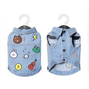 Trendy Dog Clothes for Small Dogs Summer T Shirts Vest for French Bulldog Colorful Chihuahua Denim Vest Jean Coat Jacket for Puppy Pet AT_94_13
