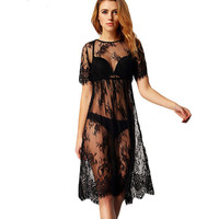 See Through Lace Swimwear Blouse One Piece Dress [4970292612]