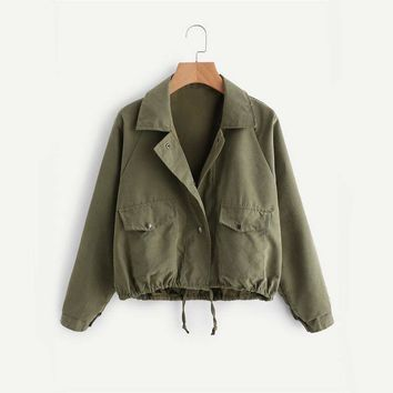 Drawstring Zip Up Brief Jacket