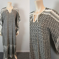 Vintage Hippie Gauze Embroidered Caftan Maxi Dress Angel Bell Kimono Sleeves Zig Zag Gypsy Bohemian Tribal Dress