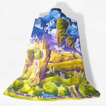 Silk scarf Blue Bull painting Silk Scarves big square hand painted & handmade - Weareable Art -  horses clouds castle
